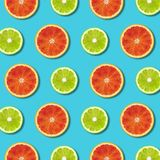 Wibrujący czerwony pomarańcze i zieleni wapna cytryny plasterków wzór na turkusowym tle zdjęcia stock
