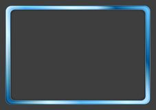 Wibrująca błękitna neonowa rama na ciemnym tle Zdjęcia Stock