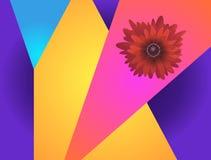 Wibrujący futurystyczny wzór z czerwonym chryzantema kwiatem ilustracji