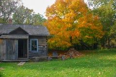 Wibrujący jesień kolory przy starym światem Wisconsin zdjęcie royalty free