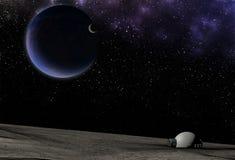 Wibrujący kosmos z gwiazdami, mgławicą i planetami, ilustracji
