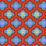 Wibrujący piękny czerwieni i błękita Maroko kwiecisty bezszwowy wzór ilustracja wektor