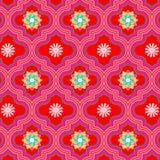 Wibrujący piękny czerwony Maroko kwiecisty bezszwowy wzór ilustracji