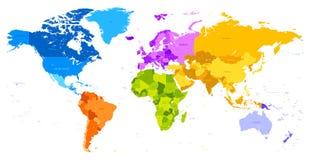 Wibrujących kolorów światowa mapa Fotografia Stock