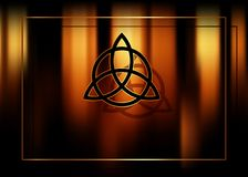 Triquetra, Trinity Knot, Wiccan symbol for protection. Blurred fire background of burning magic candles. Vector mystic background. Triquetra, Trinity Knot royalty free illustration