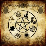 Wicca calendar. Calendar Wicca with the symbols of the eight Sabbath Stock Image