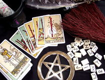 Wicca Workings. Wicca and spiritual items used in witchcraft rituals, spells and divination Stock Image