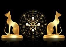 Σύμβολο Wiccan της προστασίας Σύνολο ρούνων μαγισσών Mandala και χρυσών γατών, απόκρυφο divination Wicca Χρυσά αρχαία απόκρυφα σύ ελεύθερη απεικόνιση δικαιώματος