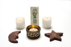 Wiccan altar, candles, pentacle and. Goddess Stock Images