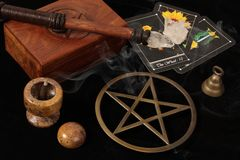 Wiccan Objects And Tarot Cards Royalty Free Stock Image