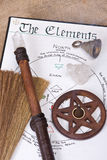 Wiccan Ritual Tools. Wiccan tools on top of book of shadows with wand bell and pentacle incense burner Stock Photo