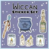 Wiccan stickers set. Collection of witchcraft labels. Witch symbols: cauldron, wand, candles royalty free illustration