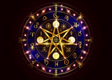 Free Wiccan Symbol Of Protection. Bright Gold Mandala Witches Runes, Mystic Wicca Divination. Ancient Occult Symbols Earth Zodiac Wheel Royalty Free Stock Photography - 160760437