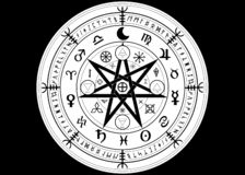 Free Wiccan Symbol Of Protection. Mandala Witches Runes, Mystic Wicca Divination. Ancient Occult Symbols, Zodiac Wheel Signs Stock Photo - 138394670