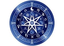 Wiccan symbol of protection. blue Mandala Witches runes, Mystic Wicca divination. Ancient occult symbols, Zodiac Wheel signs. Wiccan symbol of protection. Blue stock illustration
