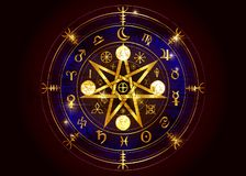 Wiccan symbol of protection. Old Gold Mandala Witches runes, Mystic Wicca divination. Ancient occult symbols, Earth Zodiac Wheel stock illustration