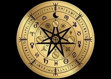 Wiccan symbol of protection. Golden Mandala Witches runes, Mystic Wicca divination. Ancient occult symbols, Zodiac Wheel signs royalty free illustration