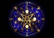 Wiccan symbol of protection. Old Gold Mandala Witches runes, Mystic Wicca divination. Ancient occult symbols, Earth Zodiac Wheel. Wiccan symbol of protection stock illustration