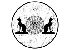 Wiccan symbol of protection. Set of Mandala Witches runes and black cats, Mystic Wicca divination. Ancient occult symbols, grunge. Wiccan symbol of protection stock illustration