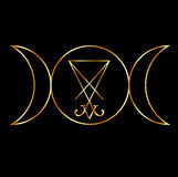 Wiccan symbol with sigil of Lucifer Royalty Free Stock Image