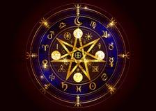 Wiccansymbool van bescherming Oude Gouden Mandala Witches-runen, de waarzegging van Mysticuswicca Oude geheime symbolen, het Wiel royalty-vrije illustratie