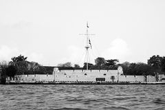 Wichai Prasit fort river Chao Phraya  Thailand black white Stock Photos