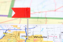 Wichita. Kansas. Red flag pin on an old map showing travel destination Royalty Free Stock Images