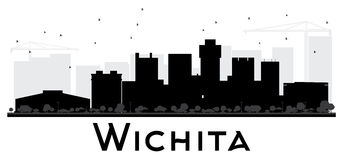 Wichita City skyline black and white silhouette. Royalty Free Stock Image