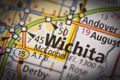 Wichita, Kansas on map. Closeup of Wichita, Kansas on a road map of the United States Stock Images