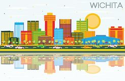 Wichita Kansas USA City Skyline with Color Buildings, Blue. Sky and Reflections. Vector Illustration. Business Travel and Tourism Concept with Modern Stock Image