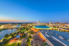 Wichita, Kansas, USA Downtown Skyline. At dusk royalty free stock photo