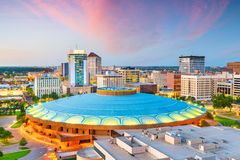 Wichita, Kansas, usa miasto w centrum linia horyzontu obraz stock
