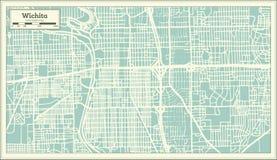 Wichita Kansas USA stadsöversikt i Retro stil skisserar kartlägger Royaltyfria Foton