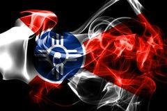 Wichita miasta dymu flaga, Kansas stan, Stany Zjednoczone Ameryka royalty ilustracja