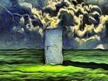 Wichrowaty obraz drzwi w zieleni ilustracja wektor