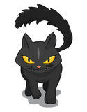 Wicked Black Cat Walking, Vector Illustration. Wicked cat walking over the viewer isolated on white background Royalty Free Stock Photography