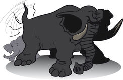 Wicked huge elephant. Huge angry elephant wags its tail in fury, it was hiding behind small elephant stock illustration