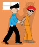 Wicked Prisoner Arrested by Police. Cartoon Illustration Royalty Free Stock Photography