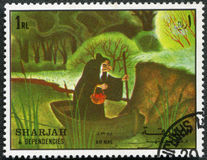 Wicked Queen. SHARJAH & DEPENDENCIES - CIRCA 1972: A stamp printed by Sharjah & Dependencies devoted fifty years of Walt Disney cartoon characters, shows Wicked Royalty Free Stock Photography