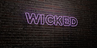 WICKED -Realistic Neon Sign on Brick Wall background - 3D rendered royalty free stock image. Can be used for online banner ads and direct mailers Stock Photo