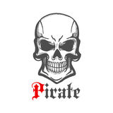 Wicked skull with crazy cheesy grin sketch. Aggressive smiling jolly roger character of sketched human skull with crazy cheesy grin. Use as piracy theme, t-shirt royalty free illustration