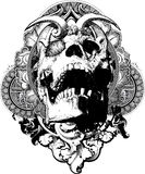 Wicked Skull Shield Illustration. Great for t-shirts, apparel, backgrounds and illustrations Royalty Free Stock Photography