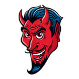 Wicked Smiling Devil Character. Cartoon of a wicked smiling devil characters face Stock Image