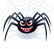 Wicked Spider with Web. Cartoon illustration of a smiling and wicked looking spider with red eyes and pointed teeth with a web in the background Stock Photos