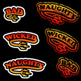 Wicked Stamps. Naughty, wicked and bad rubber stamp and sticker vector illustrations Royalty Free Stock Photo