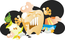 Wicked tooth. Does not want to live in the garbage Royalty Free Stock Images