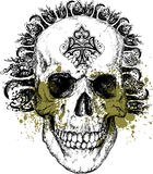 Wicked tribal punk skull illustration. Great for backgrounds and illustrations Stock Photos