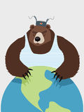 Wicked Wild bear of Russia hugging planet. The Threat. Royalty Free Stock Photography