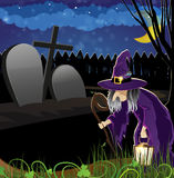 Wicked witch in the cemetery Royalty Free Stock Images