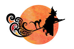 Wicked Witch. On fast broom with hunched back cat Royalty Free Stock Images